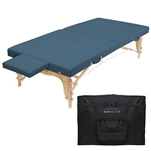 Saloniture Portable Physical Therapy Massage Table – Low to Ground Stretching Treatment Mat Platform – Blue