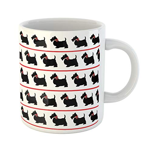 (Emvency Funny Coffee Mug Scottish Black Scottie Dogs with Red Bows on White in Terrier Silhouette Vintage 11 Oz Ceramic Coffee Mug Tea Cup Best Gift Or Souvenir)