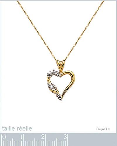 Lot Pendentif Coeur Plaqué Or bicolore 18 carats et Oxydes Zirconium + Chaîne 45cm Plaqué Or