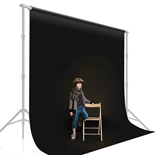 Julius Studio 10 ft. X 12 ft. Long Life Time Reusable Black Chromakey Photo Video Photography Studio Fabric Backdrop, Background Screen, Pure Black Muslin, Photography Studio, JSAG476