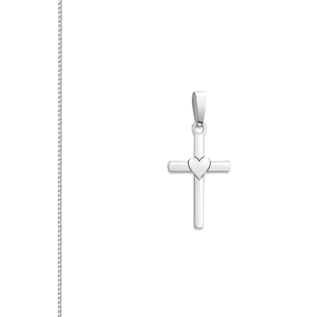 Womens Sterling Silver Cross Heart Pendant Box Chain Necklace Choose Length