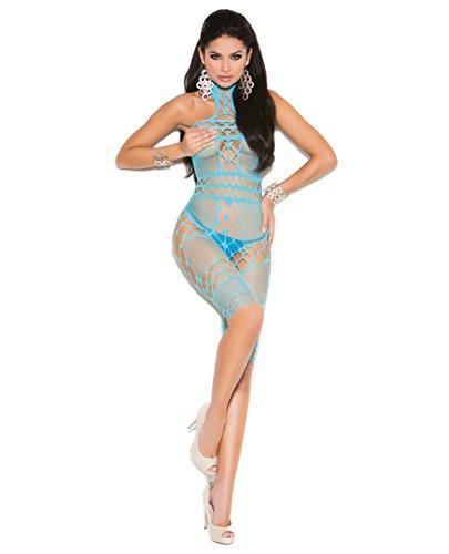 Vivace Crochet & Fishnet Halter Neck Mid Length Bodystocking Turquoise O/S