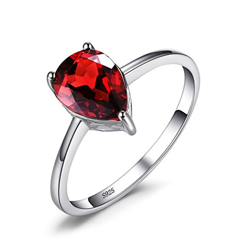 JewelryPalace 1.4ct Natural Gemstones Birthstone Red Garnet Solitaire Engagement Ring For Women For Girls 925 Sterling Silver Pear Cut Size 7