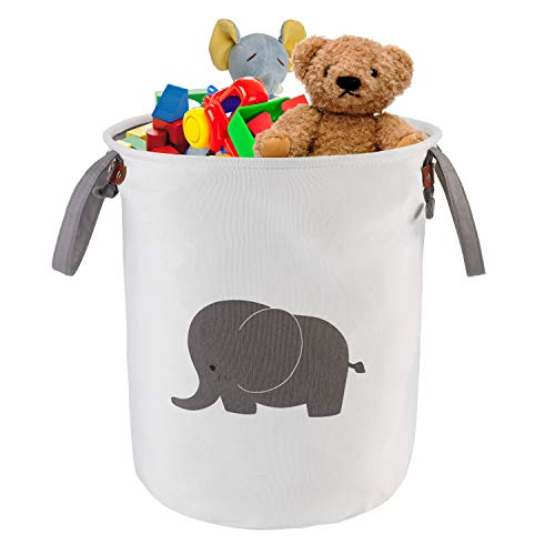 NASHRIO Laundry Storage Basket Hamper, Functional Cotton Foldable Round Home Organizer Bin with Handles for Toddler Nursery, Toys, Infant Clothing Trendy Stylish Baby Shower Gift Baskets (Elephant)