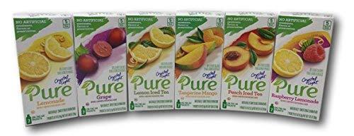 Crystal Light Pure Variety Pack includes- Raspberry Lemonade, Lemonade, Grape, Tangerine Mango, Peach Iced Tea, and Lemon Iced Tea