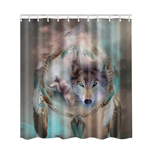 Artown Coyote Shower Curtain, Unique Mystic Style Dream Catcher Wolf Head Colorful 3D Digital Printing Design, Polyester Bathroom Decoration Set with 12 Standard PVC Hooks, 72 x 72 Inches Long