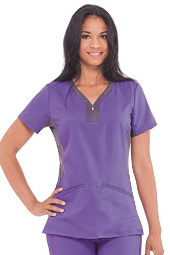 healing hands Purple Label Yoga Women's Jessi 2270 Knit Side Panel Y-Neck Top Scrubs- Grape/Pewter- S