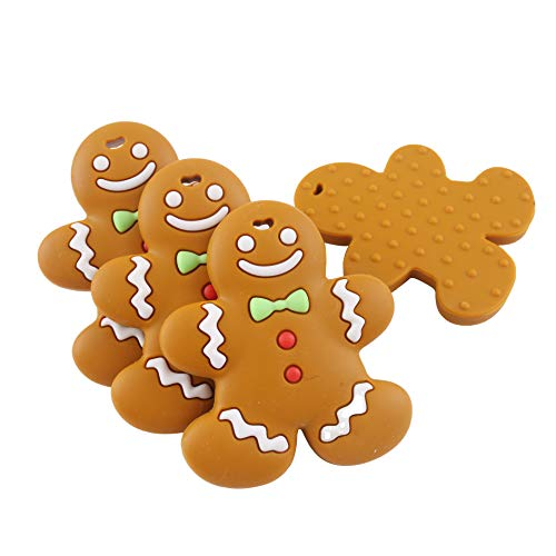 Biter teether Silicone Teether Gingerbread Man 5PCS Silicone Pendants Charms BPA Free Safe Chewable Toys for Baby