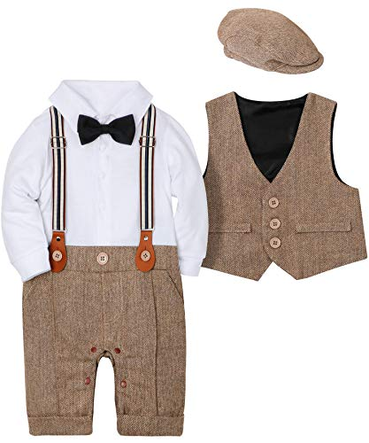 WESIDOM Baby Boy Suit Outfits Set 3pcs,Infant Tuxedo Long Sleeve Gentleman Wedding Jumpsuit & Vest Coat & Berets Hat Brown -