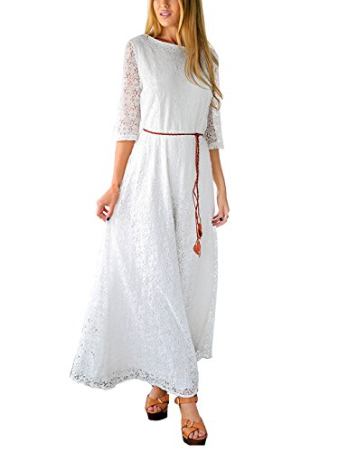 Grapent-Womens-Lace-White-Wedding-34-Sleeve-A-line-Maxi-Bridal-Shower-Dress