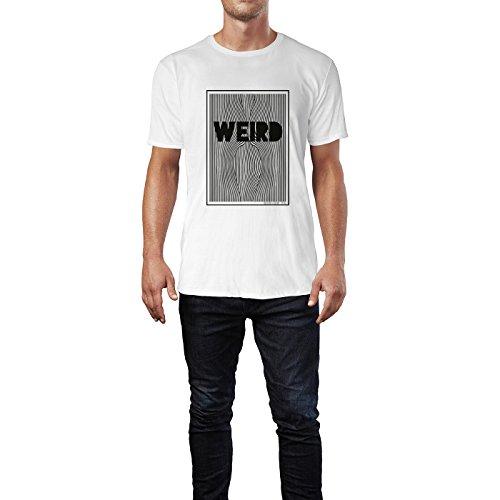 SINUS ART® Optische Illusion mit Slogan Weird Herren T-Shirts in Weiss Fun Shirt mit tollen Aufdruck