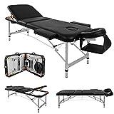 Mesa de masaje Cama de aluminio Aluminio Ligero Profesional Belleza Tatuaje Spa Reiki Portátil Plegado 3 secciones con bolsa de espuma de cuero PU de primera calidad Blanco (213 cm / 15 kg / Capacidad de carga 250 kg,A