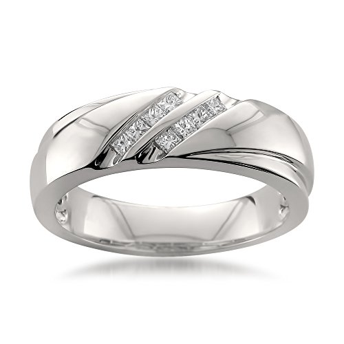 Platinum Double Row Princess-cut Diamond Men's Wedding Band Ring (1/4 cttw, H-I, SI1-SI2), Size 10