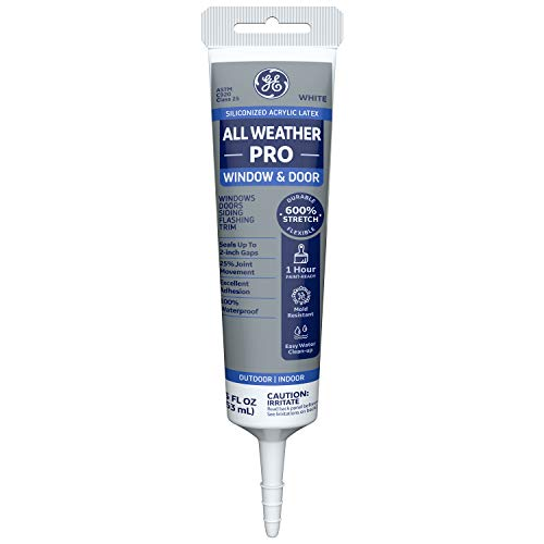 GE Momentive Performance Materials All Weather Pro Siliconized Acrylic Latex Sealant Caulk, White, 5.5oz (MAWD305WT)