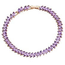 BMALL Glam Luxe Mysterious Purple Cubic Zirconia 18K Gold Plated Womens Amethyst Bracelets Bangles 19.5Cm 7.67 Inch B151