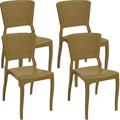 Sunnydaze Hewitt All-Weather Plastic Patio Outdoor Dining Chair