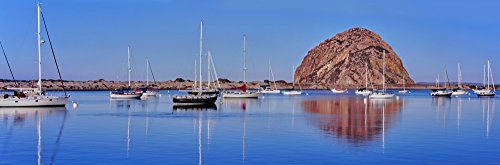 Posterazzi PPI165925 Boats at Harbor in Front Rock Morro Bay San Luis Obispo County California USA Poster Print, 6 x 18