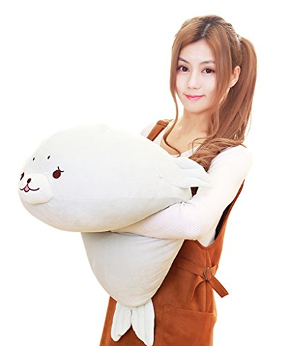 Persona Model Agency Stuffed Seal - Seal Plush Toy - 23 Inches - Seal Plush Pillow - Seal Stuffed Animal Plush - by GOD of Gifts (Large, White) -