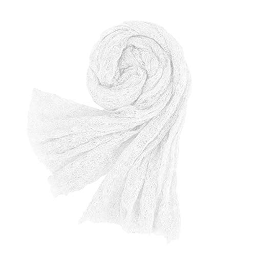 (Newborn Baby Photography Props Knit Mohair Stretchy Wrap Baby Girl Boy Long Ripple Blanket with Headband (White))
