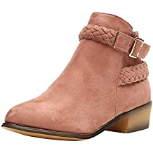 Dermanony Women's Buckle Ankle Boot Ladies Side Zipper Booties with Woven Wrap arounds Studs and Overlay