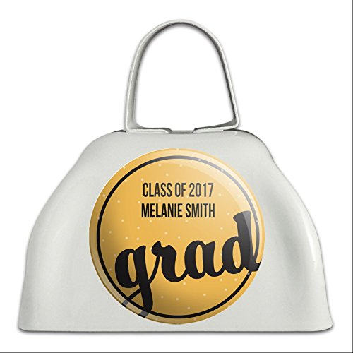 Graphics and More Personalized Custom Graduation Graduate Orange Celebration White Cowbell Cow Bell]()