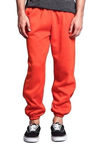 Victorious Men's Elastic Cuff Fleece Sweatpants - HILLSP - Orange - Large - GG1H]()