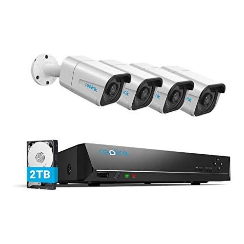 chollos oferta descuentos barato Reolink 4K Sistemas de Cámara Vigilancia PoE Exterior Kit de Cámara Seguridad con 4X 8MP Cámaras IP PoE y 8 Canales 2TB HDD NVR para Grabación 24 7 Impermeable Visión Nocturna Audio RLK8 800B4
