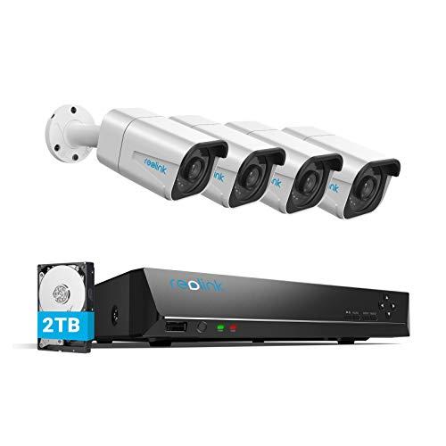 Reolink 4K Sistemas de Cámara Vigilancia PoE Exterior, Kit de Cámara Seguridad con 4X 8MP Cámaras IP PoE y 8 Canales 2TB…