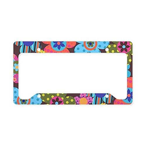 - CafePress - Retro Flowers Bags License Plate Holder - Aluminum License Plate Frame, License Tag Holder