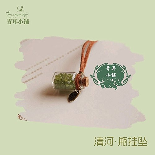 usongs Sen women girls line Exquisite natural peridot necklace pendant sweater chain girls glass ornaments summer accessories
