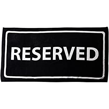 Black And White Reserved Cotton Velour Beach Towel 30 X 60 in.
