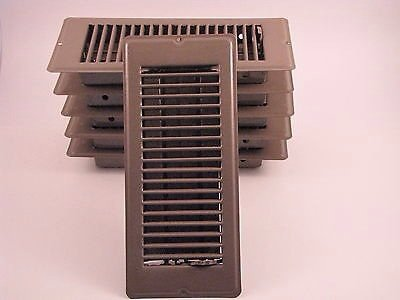 Metal Floor Registers, Brown- 4x10 Lot of 6