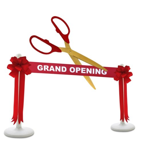 Deluxe Grand Opening Kit - 36' Red/Gold Ceremonial Ribbon Cutting Scissors with 5 Yards of 6' Red Grand Opening Ribbon, 2 Red Bows and 2 White Plastic Stanchions