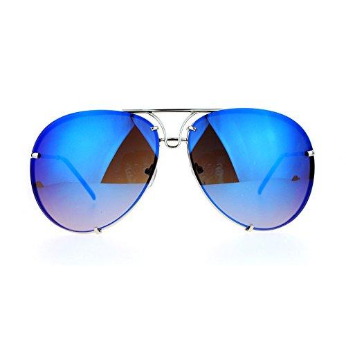 SA106 Rimless Retro Vintage Style Oversize Mirror Lens Aviator Sunglasses - Blue Aviators Mirrored
