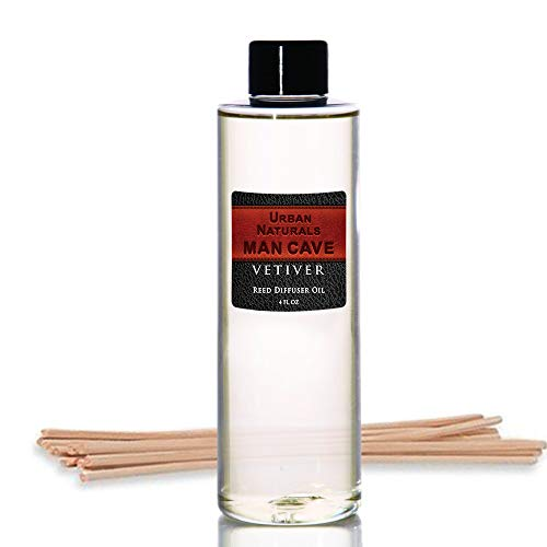 (Urban Naturals Vetiver Man CAVE Scented Reed Diffuser Refill Set | Includes a Free Set of Reed Sticks! 4 oz. | A Fabulous Masculine Scent! Great Gift Idea Home Fragrance Lovers!)