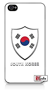 South Korea National Flag Badge Direct UV Printed (not a sticker) iPhone 4, 4s Quality TPU SOFT RUBBER Snap On Case for iPhone 4 - AT&T Sprint Verizon - White Case