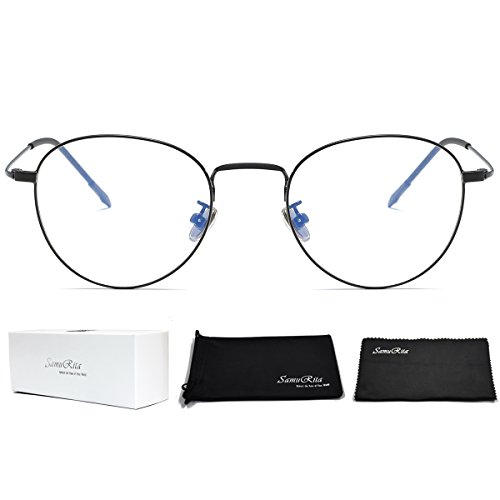 SamuRita Ultra Thin Classic Metal Round Oval Glasses Full Rim Clear Lens Sunglasses Eyeglasses Frame(Black - Oval Eyeglasses