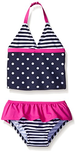 OshKosh Baby Girls' Two Piece Printed Tankini with Skirt, Navy, 12 Months