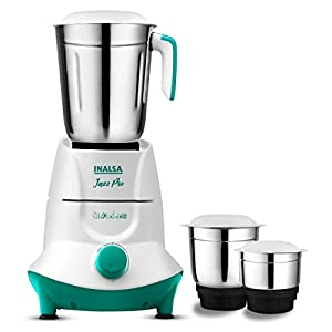 Inalsa Jazz Pro -550W Mixer Grinder with 3 Stainless Steel Jars ( White/Green )