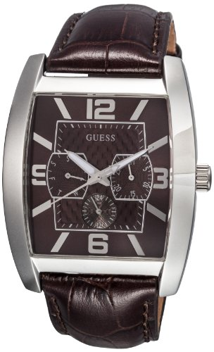 GUESS? Men's 'Power Broker' Quartz Stainless Steel and Leather Casual Watch, Color:Brown (Model: W80009G2)