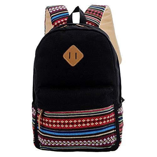 Travel Fashion Feitengtd Satchel Rucksack Girls Backpack Canvas Bookbags School Shoulder Bag Black Travel Boys aTRURwxq7