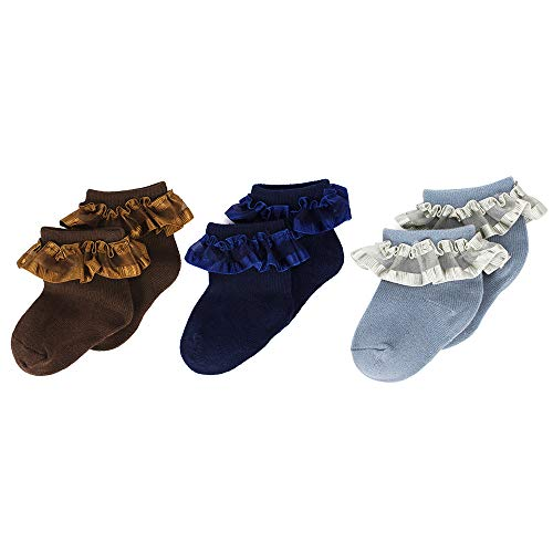 MK MATT KEELY Baby Girls Socks Ruffles Lace Breathable Princess Socks Set for Newborn 6-12 Months Coffee Navy Gray(Pack of 3)
