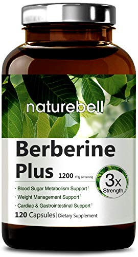 Maximum Strength Berberine Plus, 1200mg Per Serving, 120 Capsule, Powerfully Supports Glucose Metabolism, Immune System, Cardiovascular & Gastrointestinal Function, Non-GMO & Made in USA.
