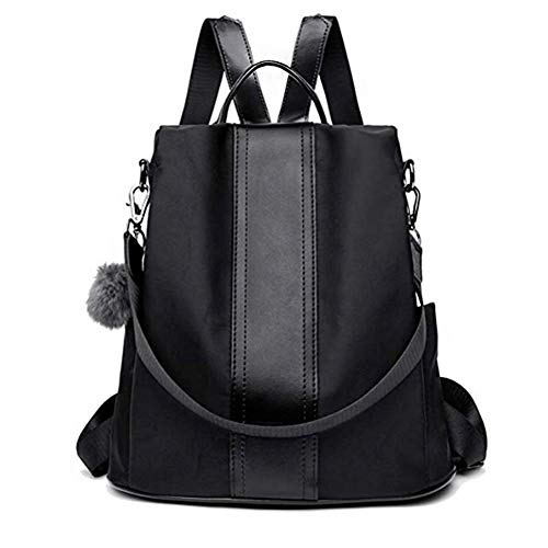 Bag Bag Lady Backpack Shoulder Backpack Women's Backpack Nylon Bag Theft Anti Handbag Lightweight Black TOOSD 8wXtqaX