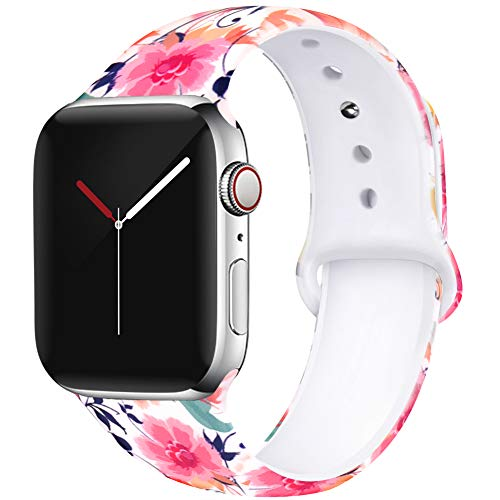 (OriBear Floral Band Compatible with Apple Watch 40mm 38mm Women Soft Silicone Solid Pattern Printed Replacement Bands for iWatch Series 4/3/2/1 S/M)