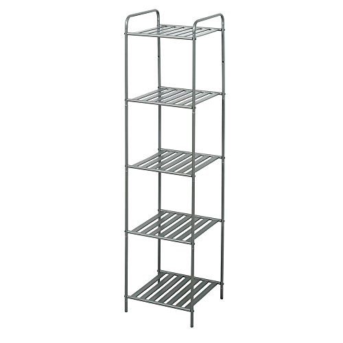 13 in. W Bathroom Linen Tower in Satin Nickel with 5 Slatted -