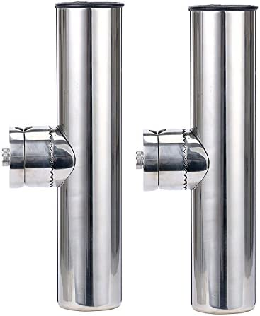Amarine Made 2X Stainless Clamp on Fishing Rod Holder for Rails 1 to 1-1 4