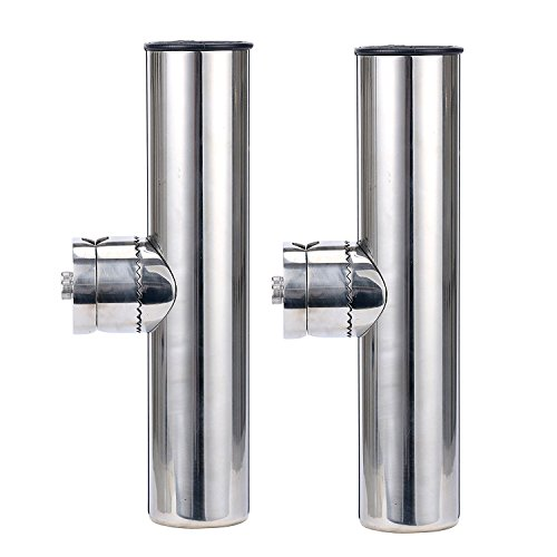 (2x) Amarine-made Stainless Clamp on Fishing Rod Holder for Rails 1