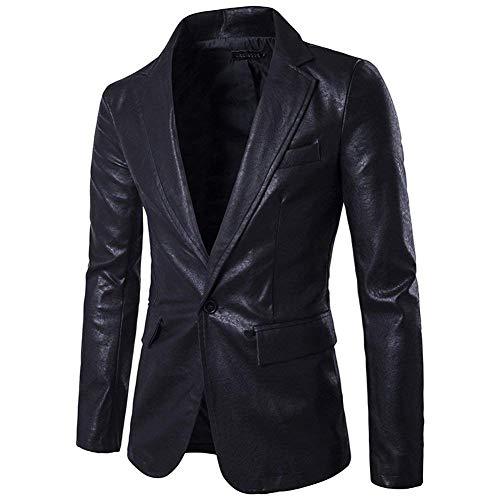 Mens Jacket Blazer Fit M Slim Oudan coloré Noir En Pu cuir Button Suit One Casual Business Taille SwUxqvdA