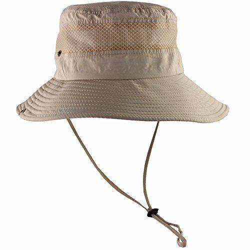 CAMOLAND Breathable Wide Brim Boonie Hat Outdoor UPF 50+ Sun Protection Mesh Safari Cap for Travel Fishing (Khaki)